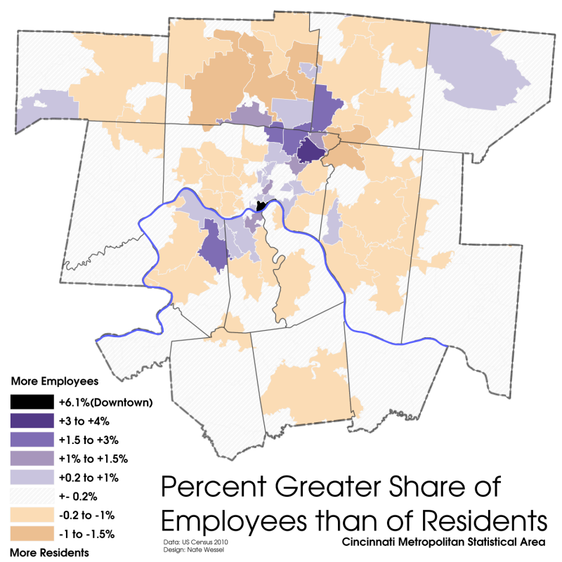 Choropleth map of employment density compared with population density in the cincinnati MSA