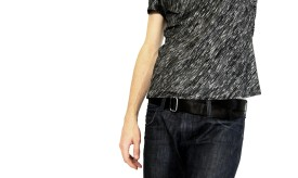 Bias-cut t-shirt and jeans