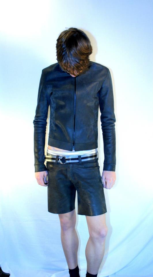 black leather jacket with matching shorts