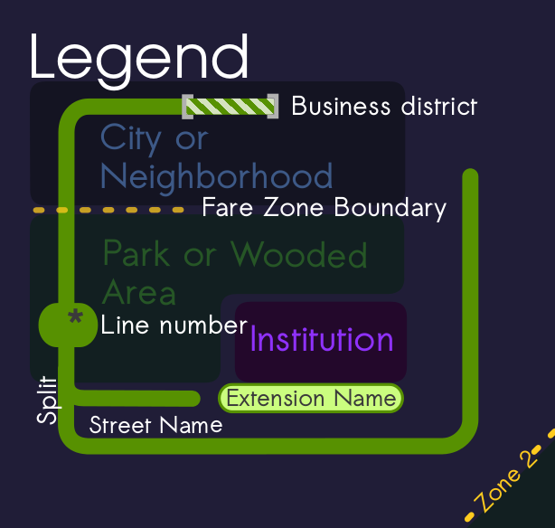 Map legend for the cincinnati night time transit map