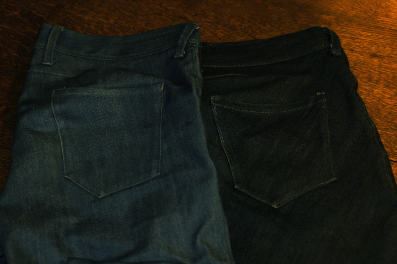 comparison photo of jeans cut on the bias and on the straight-grain